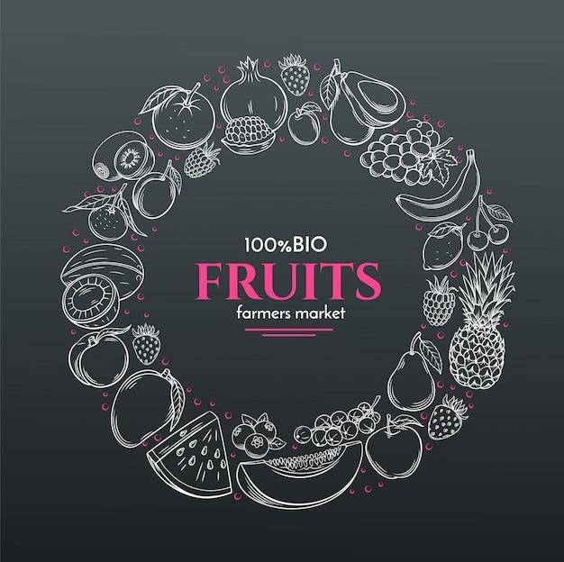 Marco con frutas dibujadas a mano Vector Premium