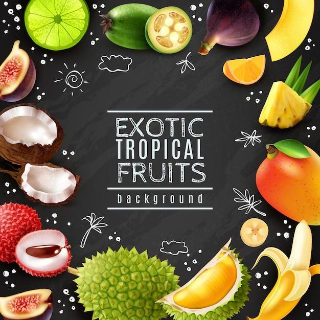 Marco de frutas tropicales fondo de pizarra vector gratuito