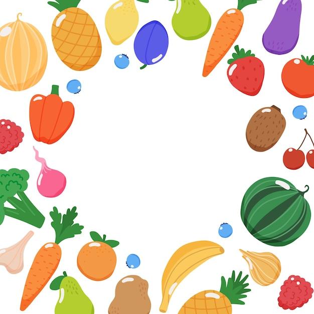 Marco de frutas y verduras con espacio de copia Vector Premium