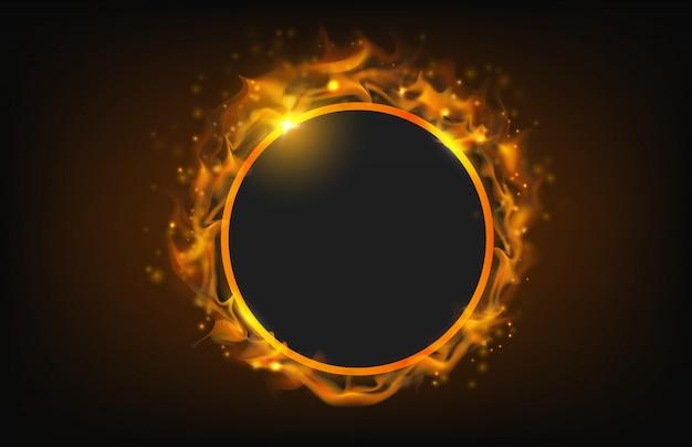 Marco de fuego círculo brillante con fondo abstracto de partículas Vector Premium