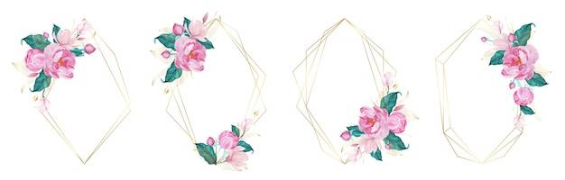 Marco geométrico dorado decorado con flor rosa en estilo acuarela para tarjeta de invitación de boda vector gratuito