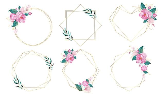 Marco geométrico dorado decorado con flores en estilo acuarela vector gratuito
