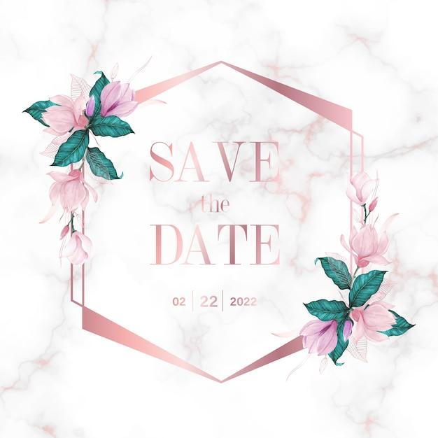 Marco geométrico de oro rosa con flores sobre fondo de mármol para logotipo de monograma de boda y tarjeta de invitación vector gratuito