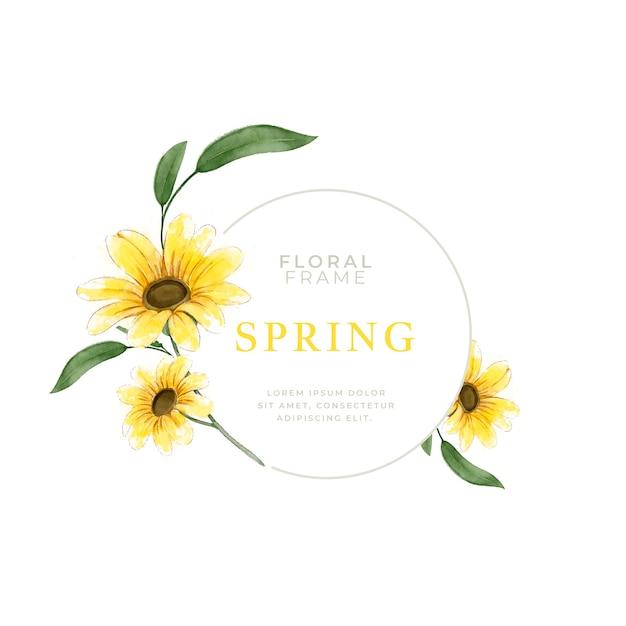 Marco de girasol primavera acuarela Vector Premium