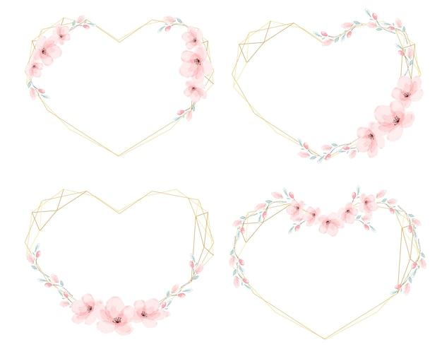 Marco de guirnalda dorada de corazón de flor de cerezo de acuarela Vector Premium