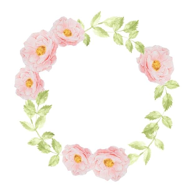Marco de guirnalda de ramo de flor rosa rosa acuarela para banner o logotipo Vector Premium
