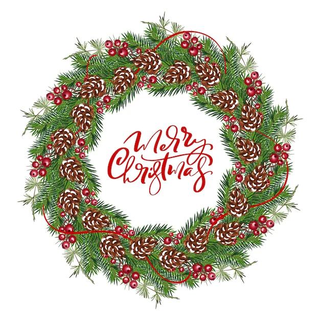 Marco de guirnalda de vector de navidad realista con frutos rojos en ramas de hoja perenne Vector Premium