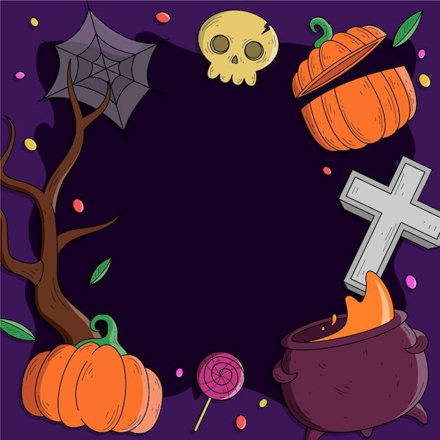 Marco de halloween dibujado a mano vector gratuito