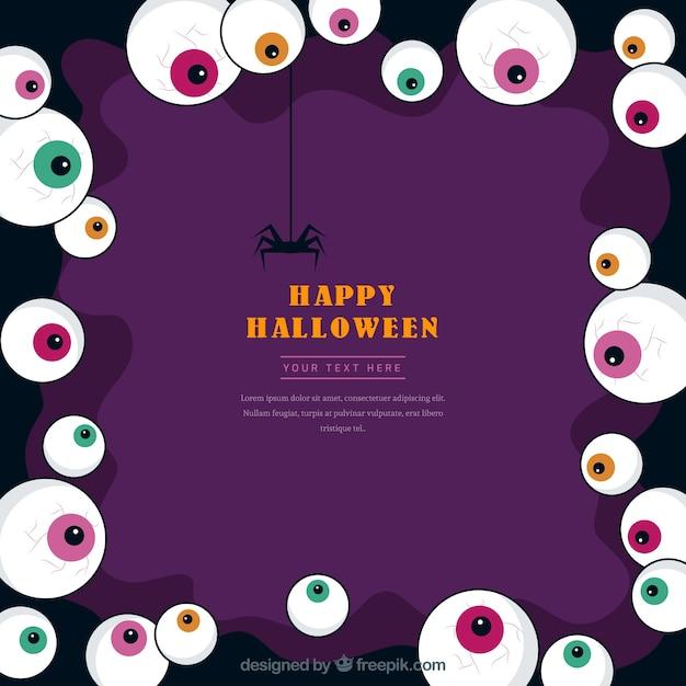 Marco de halloween con ojos de colores | Descargar Vectores gratis