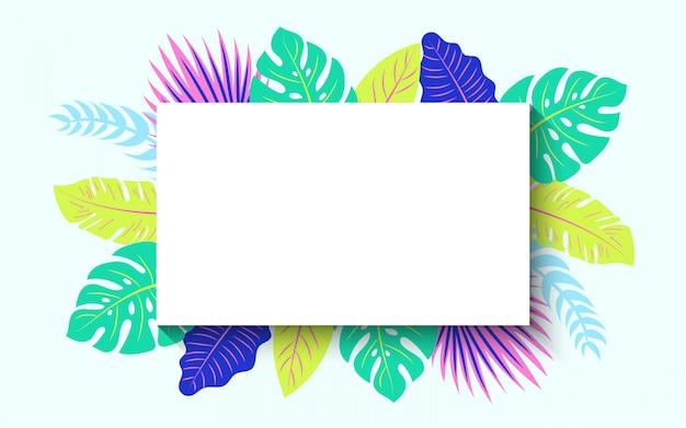 Marco horizontal de verano tropical vector gratuito
