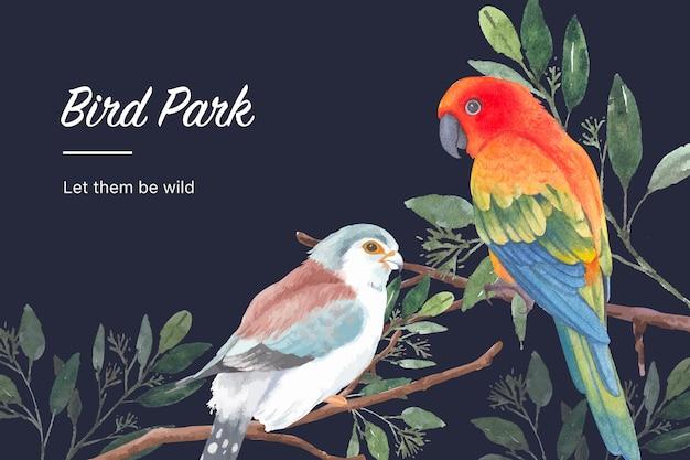 El marco del insecto y del pájaro con el pinzón, conure del sol, deja la ilustración de la acuarela. vector gratuito