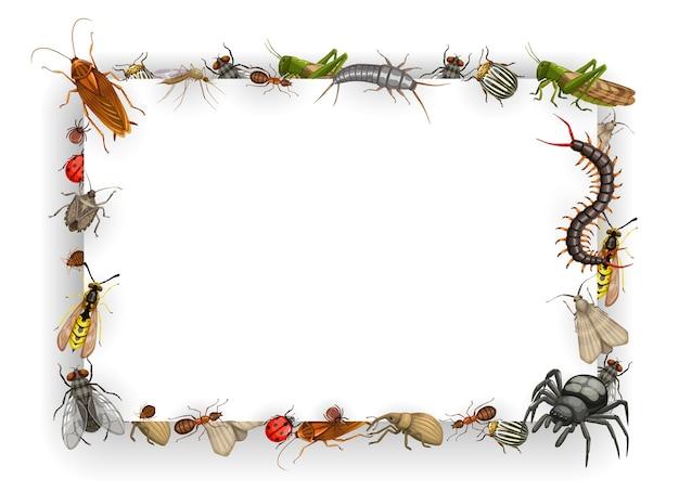 Marco con insectos vector chinches, pulgas y cucarachas con hormigas, avispas, moscas y mosquitos Vector Premium
