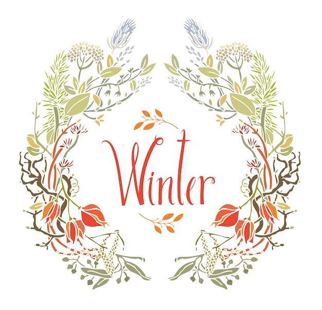 Marco de invierno de hojas y ramitas | Descargar Vectores gratis