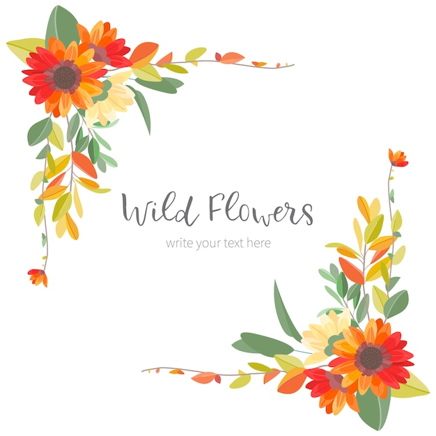 Marco lindo de la vendimia con flores de colores   Descargar ...