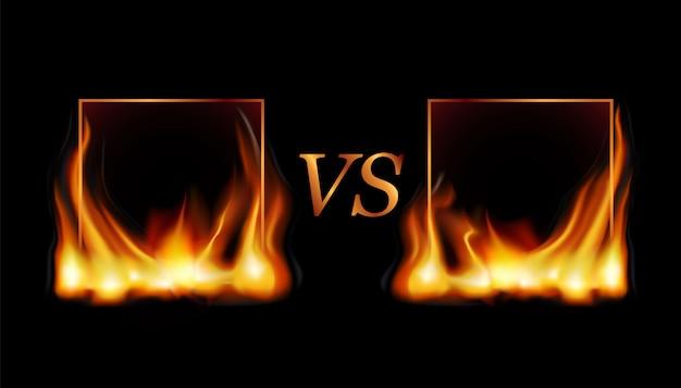 Marco de llama de fuego de luz cuadrada realista con destellos de fuegos artificiales, ilustración de plantilla sobre fondo negro. Vector Premium