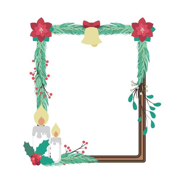 Marco De Madera Decorado Con Hermosos Elementos De Navidad