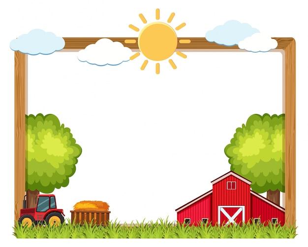 Marco de madera con granja en el fondo | Descargar Vectores Premium