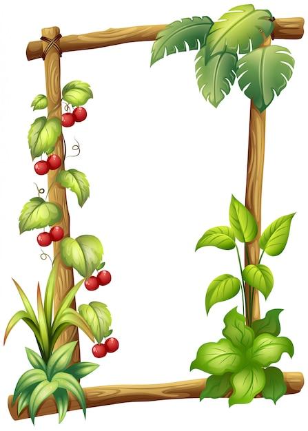 Un marco de madera con plantas de vid. vector gratuito
