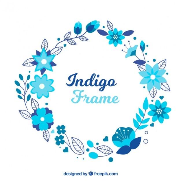 Marco minimalista con flores azules | Descargar Vectores gratis