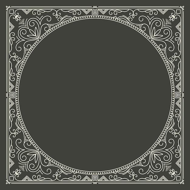 Marco monograma floral y geométrico vector gratuito