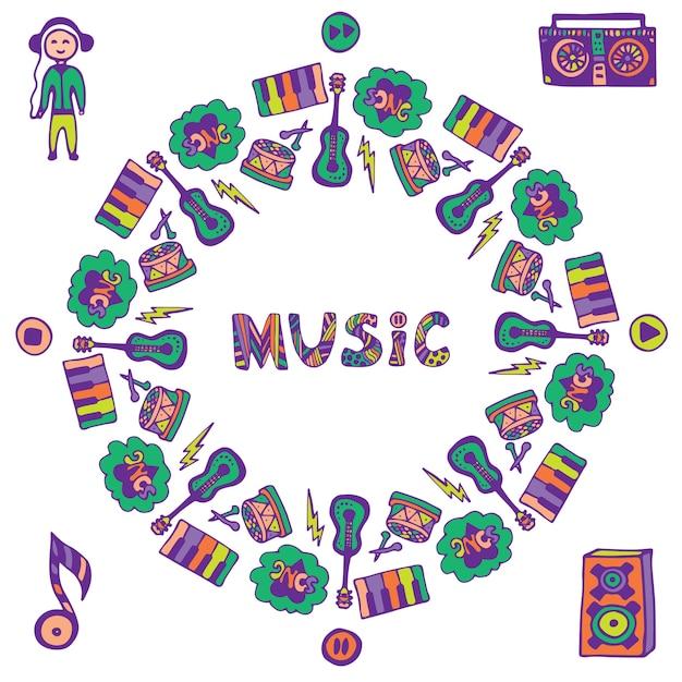 Marco de música dibujado a mano. música doodle iconos de colores. plantilla para folleto, pancarta, póster, cubierta Vector Premium