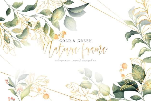 Marco de naturaleza verde y oro vector gratuito