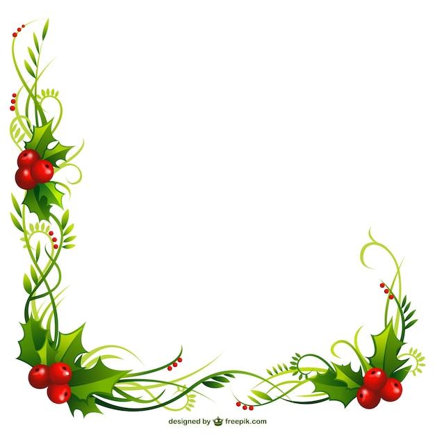 Marco de la navidad con hojas acebo | Descargar Vectores gratis