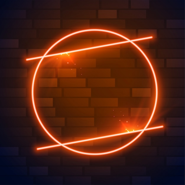 Marco de neón marrón o naranja círculo con espacio de texto vector gratuito