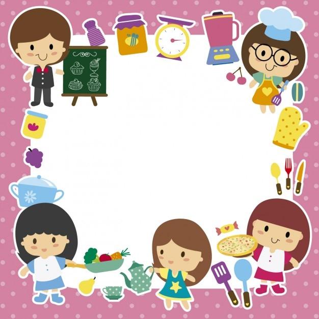 Marco con niños chef | Descargar Vectores gratis