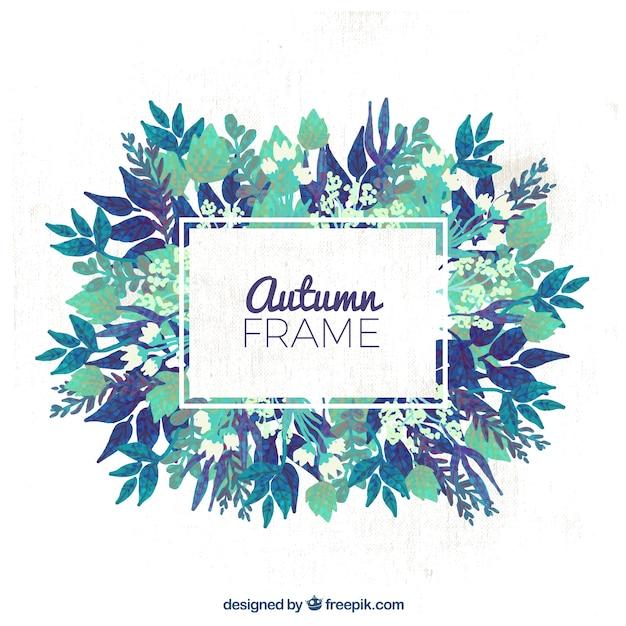 Marco otoñal con flores azules | Descargar Vectores gratis