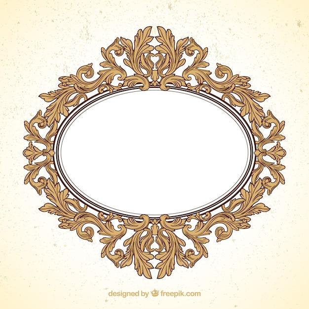 marco ovalado en estilo ornamental vector premium