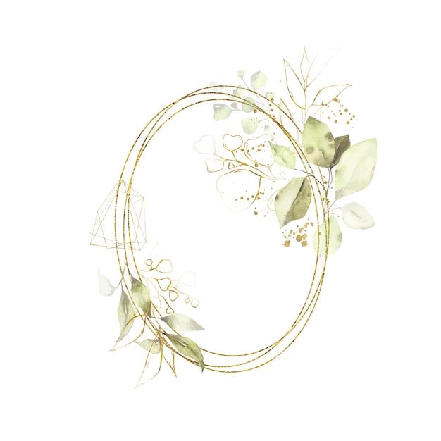 Marco ovalado redondo geométrico dorado de acuarela con hojas verdes vector gratuito