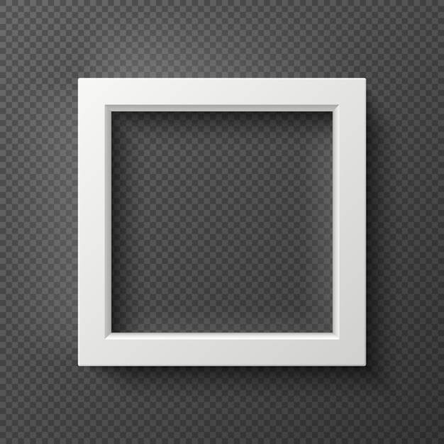 Marco de pared 3d cuadrado blanco vacío para imagen creativa Vector Premium