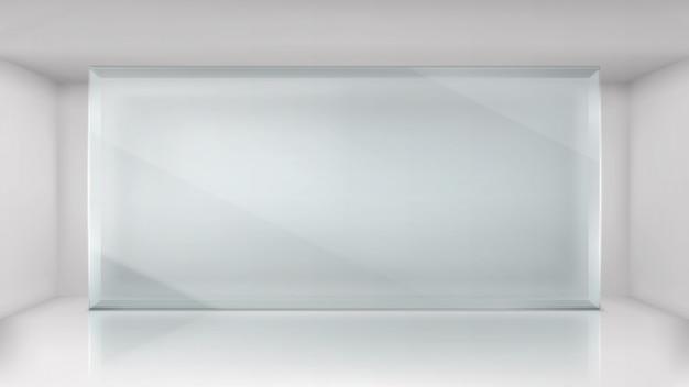 Marco de pared de vidrio en el fondo de la sala de exposiciones vacía vector gratuito