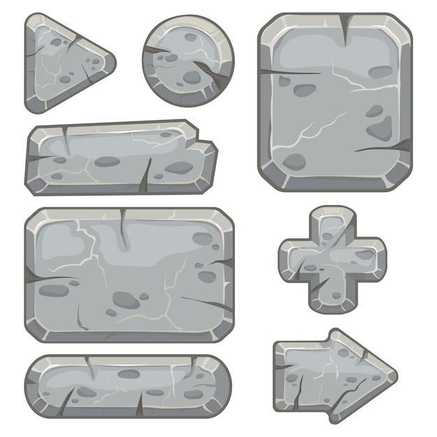 Marco de piedra banner de rocas de escombros, piedras bloquean flechas y grava rock tablet cuadros conjunto aislado Vector Premium