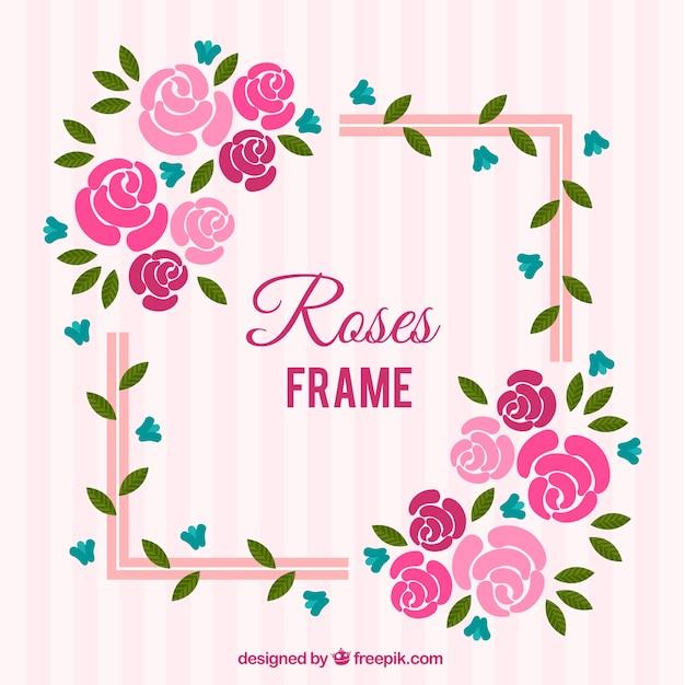 Marco plano con flores azules y rosas | Descargar Vectores gratis