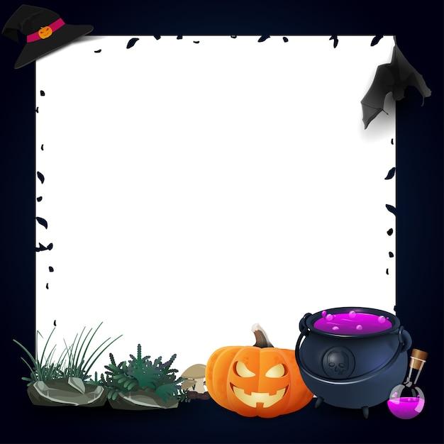 Marco de plantilla para halloween con calabaza y maceta de bruja ...