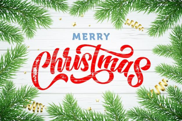 Marco de ramas de árbol de navidad, vacaciones de invierno doradas estrellas brillantes y bolas sobre fondo blanco de madera Vector Premium