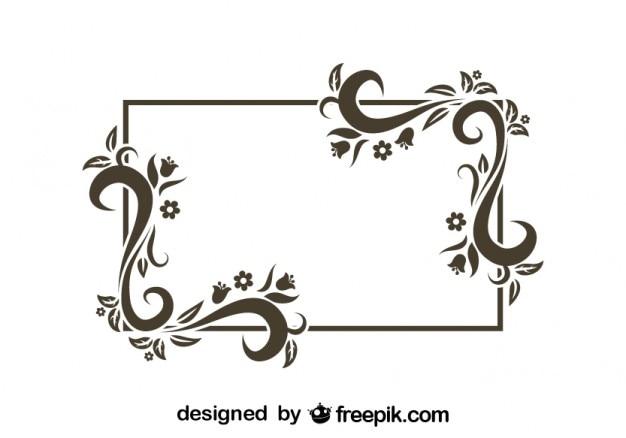 Marco rectangular de dise o de floral retro descargar for Formas ornamentales
