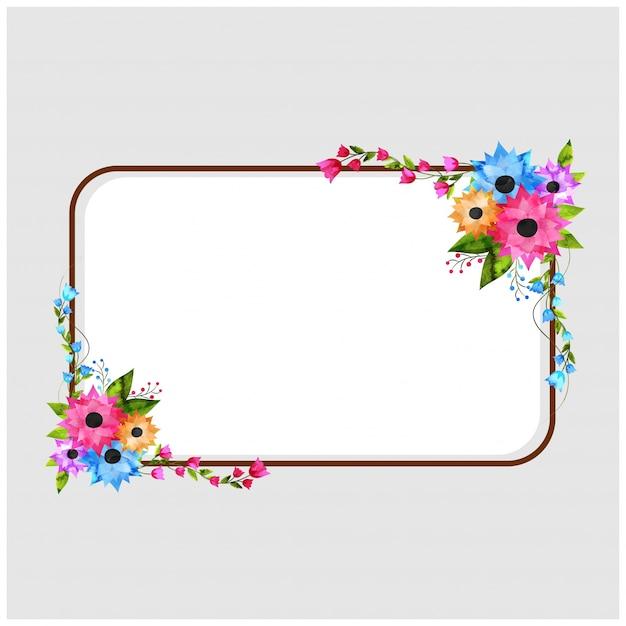bef96bb0948a5 Marco rectangular decorado con hermosas flores de acuarelas y ...