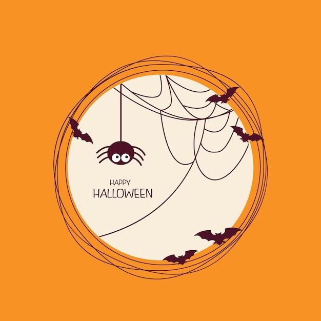 Marco redondo con araña, web y murciélagos | Descargar Vectores Premium