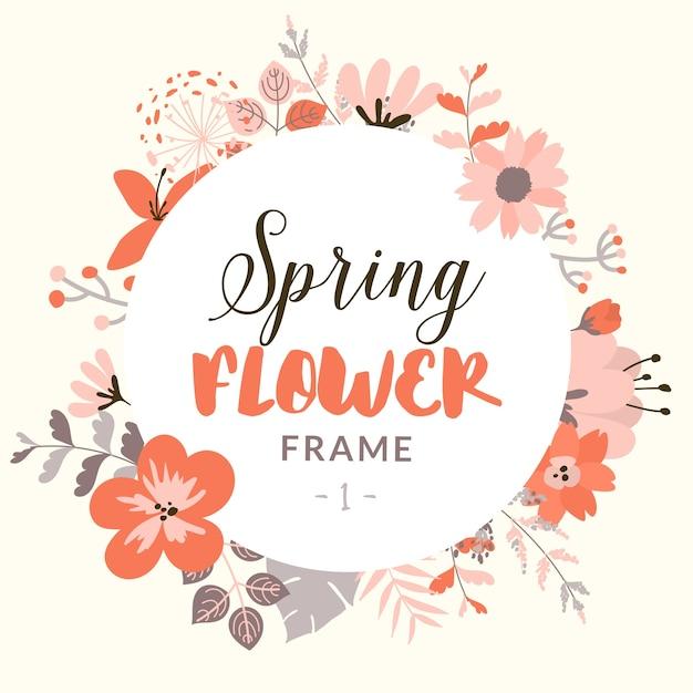 Marco redondo con flores decorativas de primavera | Descargar ...