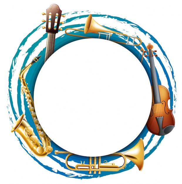 Marco redondo con instrumentos musicales | Descargar Vectores Premium