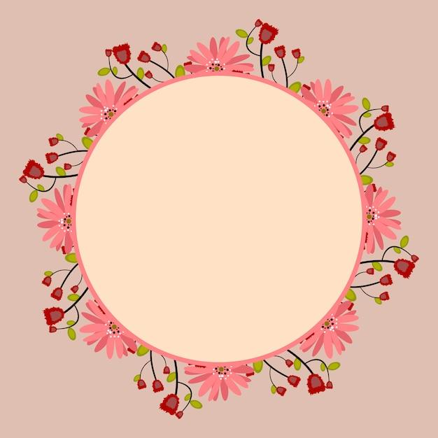 Marco redondo con ramo floral rosado y rojo, plantilla para ...