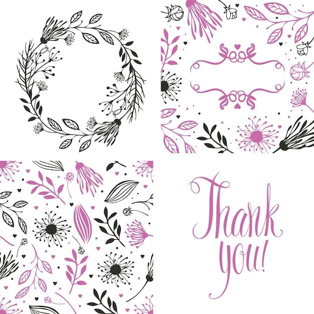 Marco redondo de flores, patrón y tarjeta de agradecimiento ...