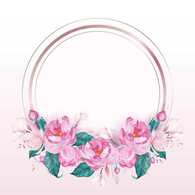 Marco redondo de oro rosa decorado con flor rosa en estilo acuarela para tarjeta de invitación de boda vector gratuito
