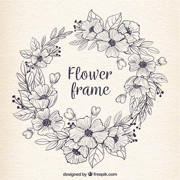Marco retro de flores dibujadas a mano   Descargar Vectores gratis