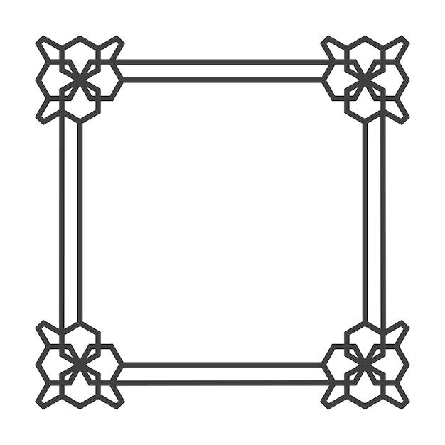 Marco retro vector asiático cuadrado en blanco y negro | Descargar ...