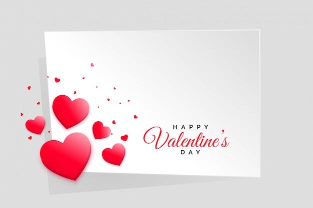 Marco rojo del día de tarjetas del día de san valentín de los corazones con el espacio del texto vector gratuito