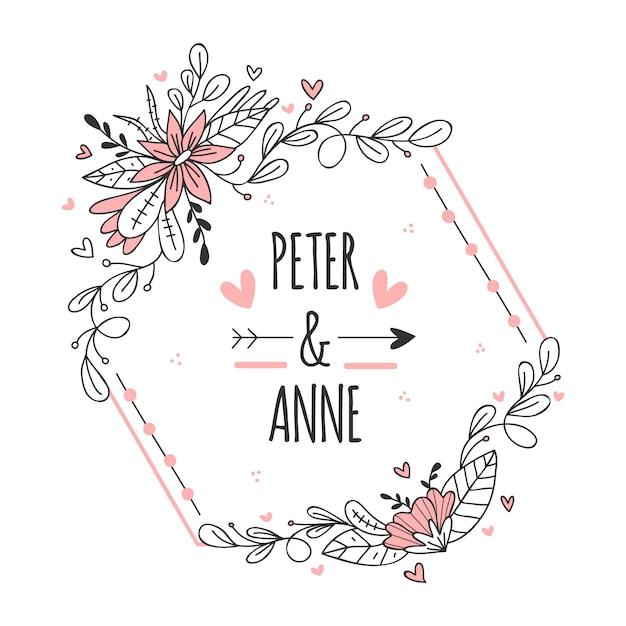 Marco rosa moderno para bodas con flores vector gratuito
